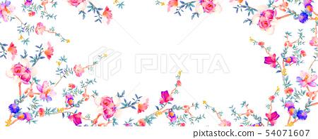 優雅的水彩花卉和樹枝 54071607