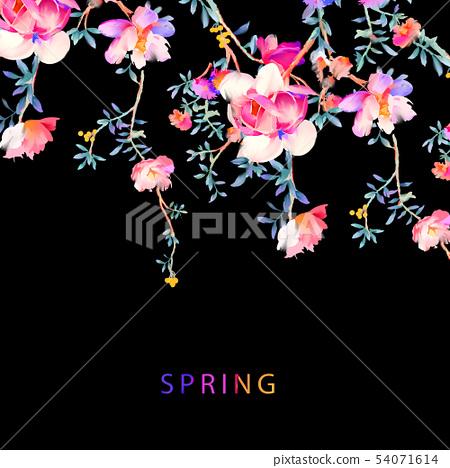 優雅的水彩花卉和樹枝 54071614