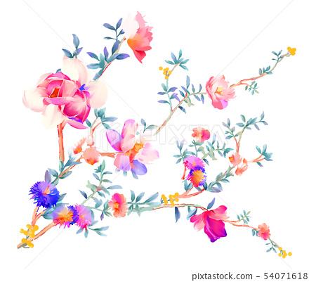 優雅的水彩花卉和樹枝 54071618