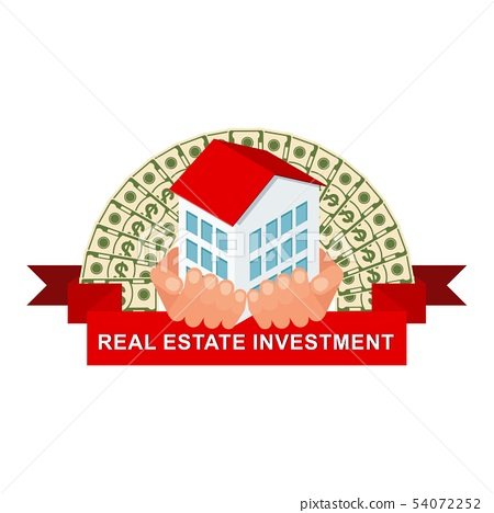 Isometric house in hand. Real estate investment logo. 54072252