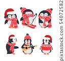 winter penguin wearing red hat and scarf set 54072582