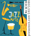 Retro style vector jazz party poster or invitation.  54073086