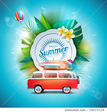 Vector Summer Time Holiday Illustration with Typography Letter on Vintage Wood Board Background 54073126