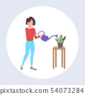 housewife pouring water in domestic potted plant woman holding watering can doing housework concept 54073284