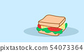 sandwich with cheese and fresh vegetables tasty fastfood concept hand drawn sketch style junk food 54073364