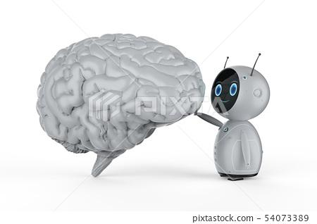Robot with white brain 54073389