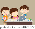 students sitting with laptop 54073722