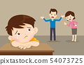 sad child with angry dad and mom quarreling 54073725