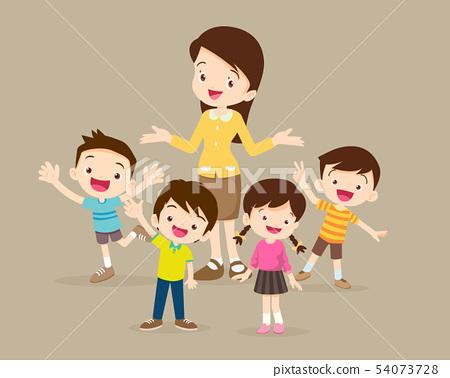Childrens stand around teacher 54073728