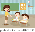 classroom with teacher and pupils 54073731
