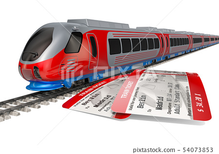 High speed train with tickets. Travel concept 54073853