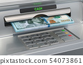 ATM machine with dollars. Withdrawing dollar 54073861
