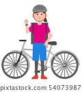 음식을 자전거로 배달하는 여성 서 일러스트 54073987