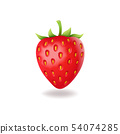 Realistic sweet strawberry with green leaves, fresh red berrie, isolated on white background vector 54074285