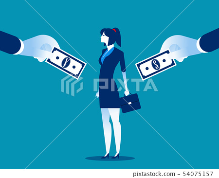 Choice. Businesswoman choice between currencies. 54075157