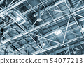 metal roof of the building with a complex system of ventilation  54077213