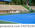 Synthetic rubber field in tennis court with chair 54078180