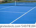 Whole blue tennis court, synthetic rubber lawn 54078184