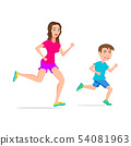 sport running or jogging mom and son vector 54081963