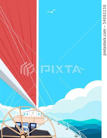 Top view sail boat on water 54082238