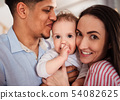 Portrait of young family with small toddler son indoors at home, kissing. 54082625