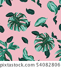 Green leaves seamless pink background 54082806