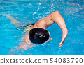 Swimming pool sport crawl swimmer. Man doing freestyle stroke technique in water pool lane training 54083790
