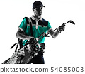 Man Golf golfer golfing isolated shadow silhouette white background 54085003