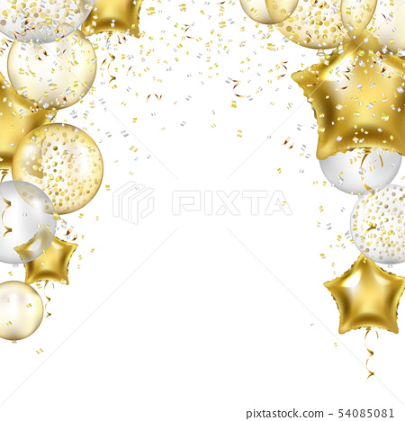 Birthday Border With Golden Star Balloons 54085081