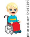 Cute Little Disabled Boy Sitting On Wheelchair 54085264