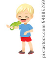 Little Blond Boy With Pet Chameleon In Arm 54085269