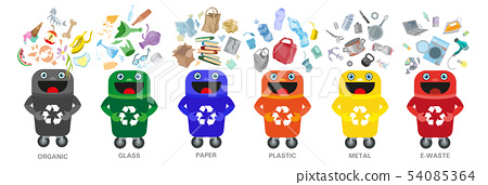 Waste sorting management concept separation garbage disposal refuse bin illustration 54085364