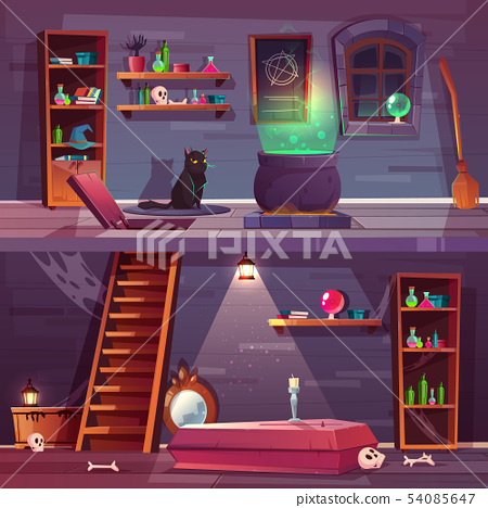 quest background of witch house, cellar 54085647