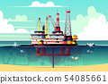 oil rig in water with pollution 54085661