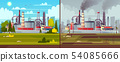 ecology concept. Environmental pollution. Factory plant. 54085666