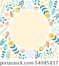 手寫的花框架 54085837