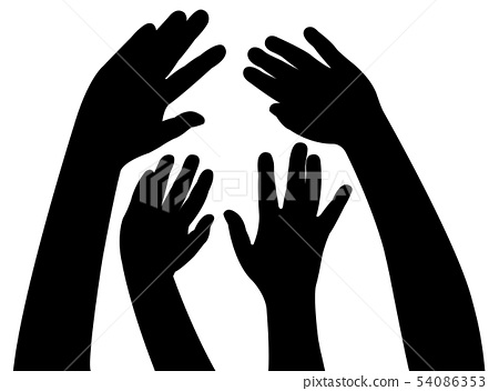 hands together, silhouette vector 54086353