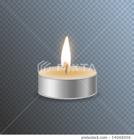 Realistic Detailed 3d Candle on a Transparent Background. Vector 54088056