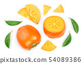 persimmon fruit slice with leaves isolated on white background. Top view. Flat lay pattern 54089386