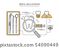 牙,核對,關心治療,醫療,醫療,線例證,例證 54090449