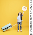 happy little girl with suitcase going on vacation 54092323