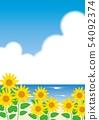 向日葵和海_垂直的背景 54092374