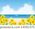 向日葵和海_背景 54092375