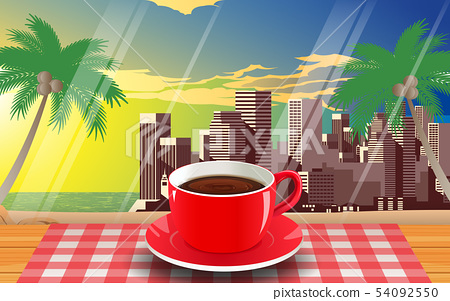 red coffee cup on the wooden table on the beach 54092550