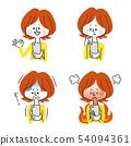 看着智能手机的女性的表情变化 54094361