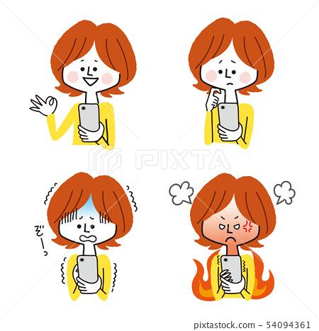 스마트 폰을 보는 여성의 표정 변화 54094361