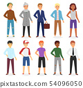 Man look fashion character clothing vector boy cartoon dress up clothes with fashion pants or shoes 54096050