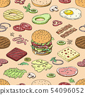 Burger vector fast food hamburger or cheeseburger constructor with ingredients meat bun tomato and 54096052