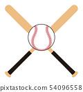 ไม้เบสบอลและลูกเบสบอลไม้เบสบอลภาพประกอบของลูกเบสบอล 54096558
