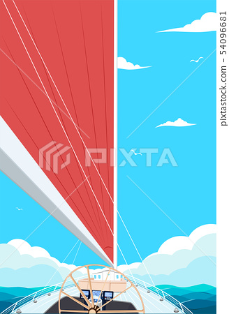 Top view sail boat on water 54096681
